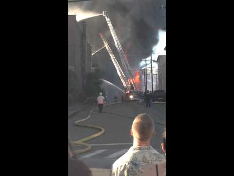 Old Stevens mill on fire in Haverhill, Ma.