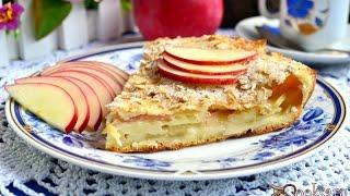 Наливной пирог с яблоками и хрустящей овсяной корочкой