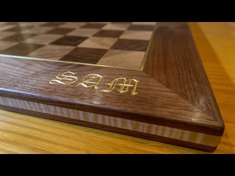 Regulation Size End Grain Chess Board with Gold Leaf