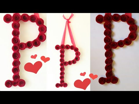 Diy Decorative Letter With Paper Flowers Room Decor Ideas Valentine S Day Gift