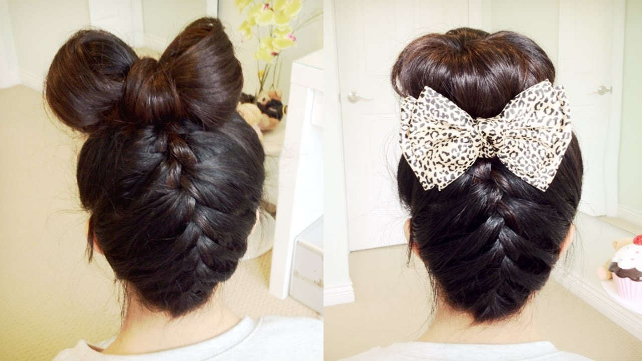 Upside Down French Braid Hair Bow + Sock Bun Updo Hair Tutorial ...