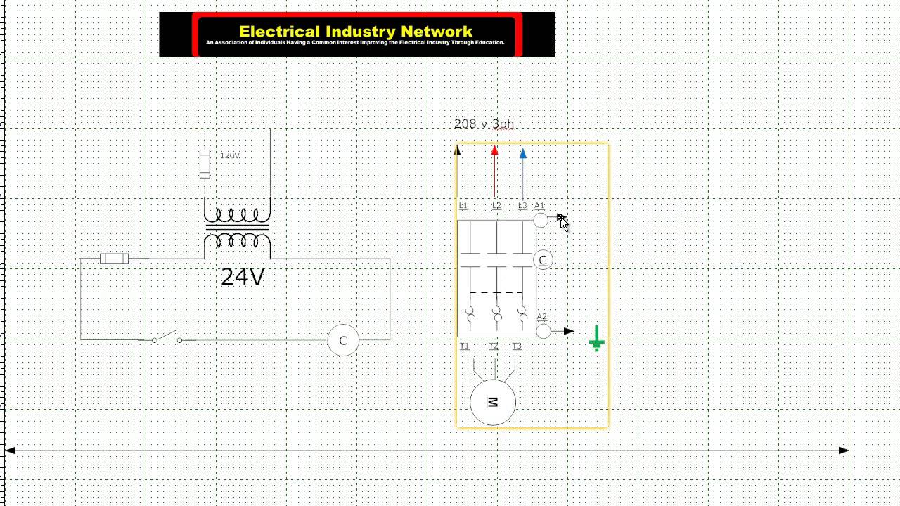 25 hp electric motor control wiring diagram - YouTube