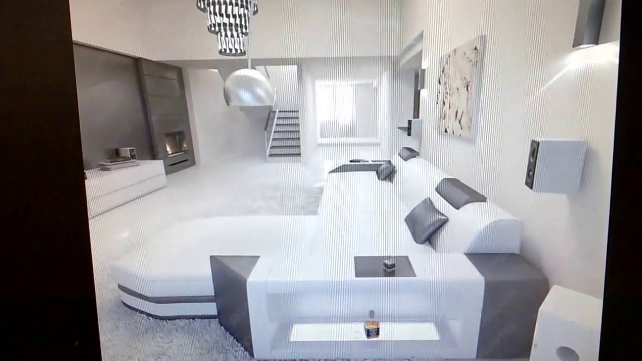 EBAY - Modern L-Shaped Sofa PRATO with LED Lights Leathersofa white ...