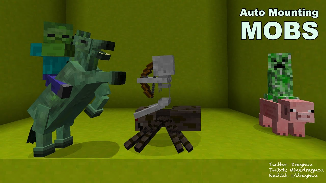 Auto Mounting Mobs Spider Creeper And Zombie Jockey In