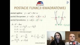 Matura z matematyki z eTrapezem. WŁASNOŚCI FUNKCJI KWADRATOWEJ - LIVE #1 - część 2 (27.02.2019 r.)