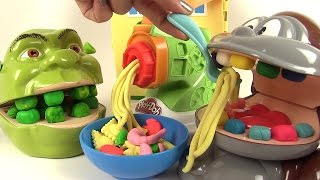 Pâte à Modeler Play Doh Dentiste Shrek mange des pâtes avec le singe