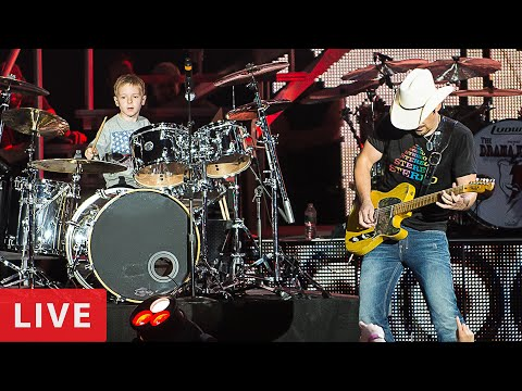 HOT FOR TEACHER - LIVE (6 year old Drummer) Avery Drummer Molek & Brad Paisley