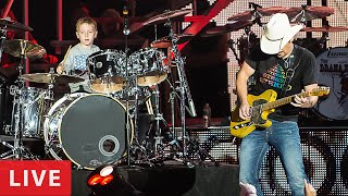 "Brad Paisley & Avery Molek, 6 year old Drummer ""Hot For Teacher, Live in Concert"""