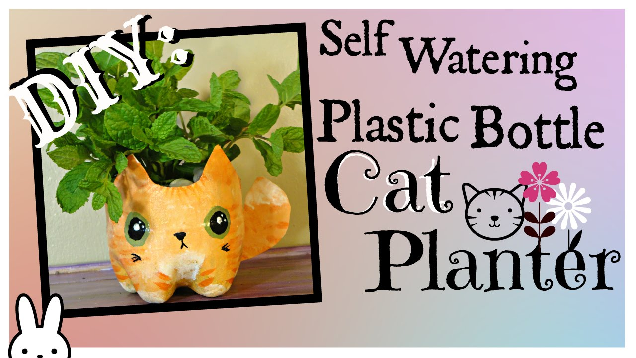 Recycled bottle planters diy recycled - Diy How To Make A Self Watering Plastic Bottle Kitty Cat Planter Tutorial Youtube
