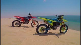 Desert motocross, freeriding dirt bikes in the dunes 2017