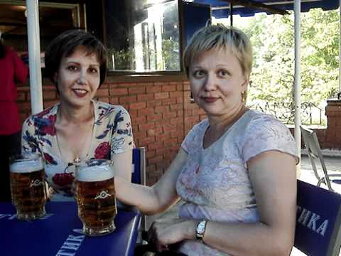 Olya and Luda having a beer in Barnaul, Russia 2006
