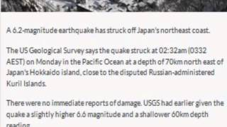 Magnitude 6.2 earthquake hits off Japan