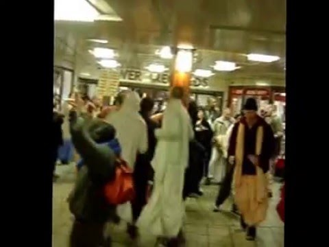 Hare Krishna dancers at Oxford Circus Tube station in 2003