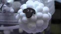 lustiges Schaf - Deko Blumenstecker aus Pom Poms