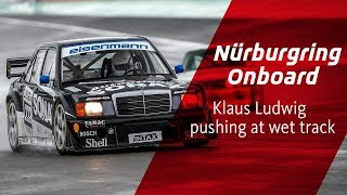Pushing DTM Mercedes at wet Nürburgring