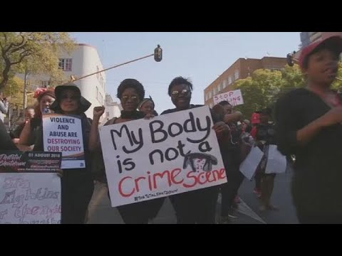 South African women protest against gender-based violence.