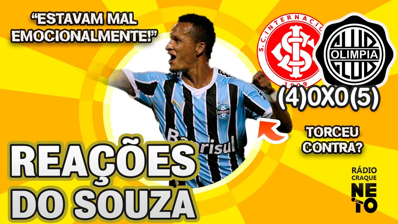 ELIMINADO NOS PÊNALTIS! OLHA como o Souza reagiu a Internacional (4)0x0(5) Olimpia pela Libertadores