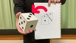 簡単に作れる サイコロ出現マジック用一瞬でパッと広がる折り畳み式サイコロの作り方他【種明し付き付き】How to make a magic dice.