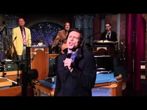 Jim Carrey Breaks Cup and Sings Take on Me on Letterman