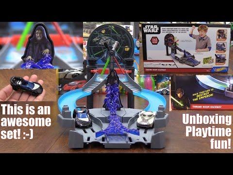 Hot Wheels Diecast: Star Wars Throne Room Raceway Playset + Minecraft Stuffed Toy Pig