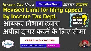 Revised limit for filing Appeal by Income Tax Dept : Income Tax News 43