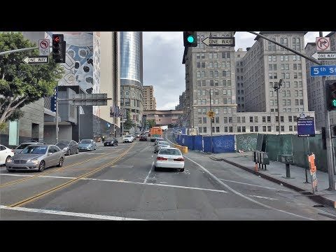 Driving Downtown - LA's Plaza Underpass - Los Angeles California USA
