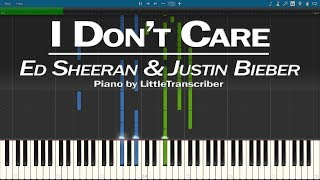 Ed Sheeran & Justin Bieber - I Don't Care (Piano Cover) Synthesia Tutorial by LittleTranscriber
