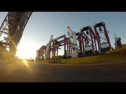 mv Happy River loading RTG's in Gdynia, Poland #2
