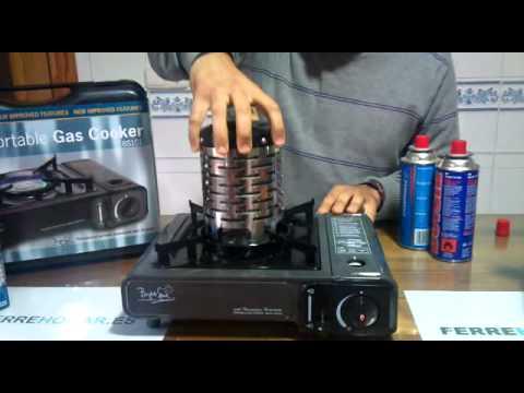 Cocina portatil de gas modelo bs 101 antracita youtube for Cocina de gas portatil