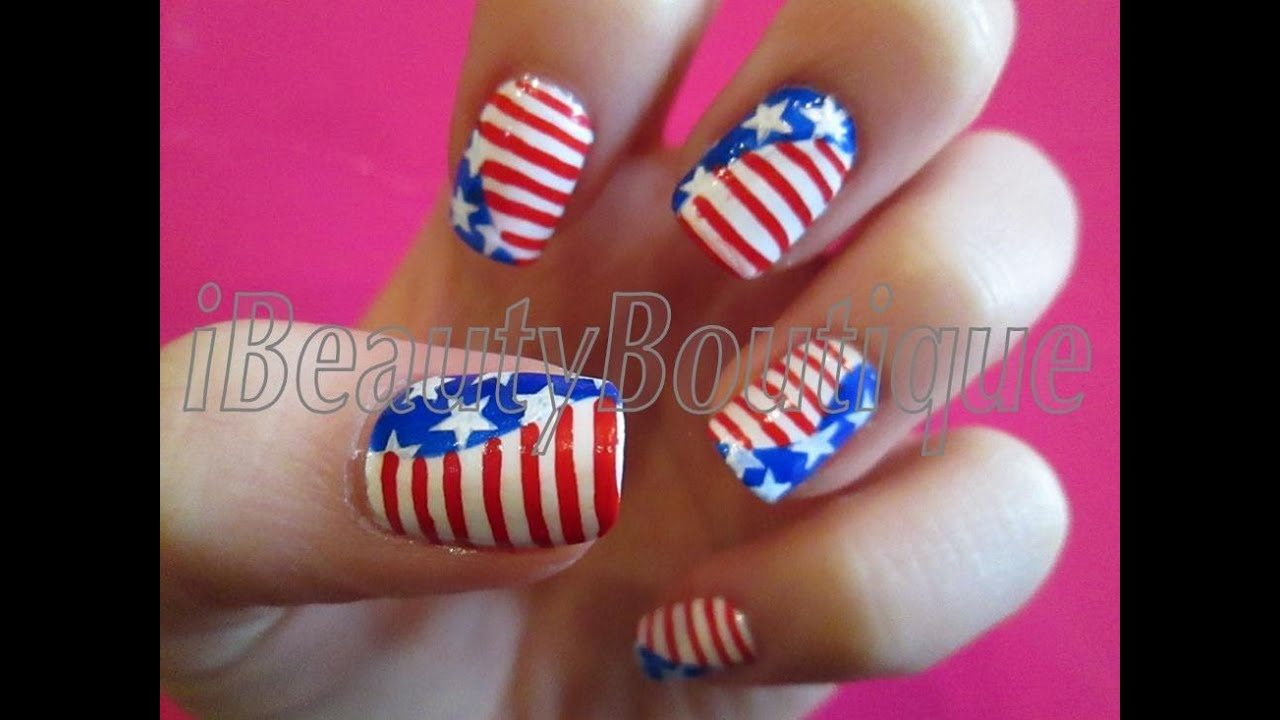 American flag nail art ibeautyboutique youtube prinsesfo Choice Image