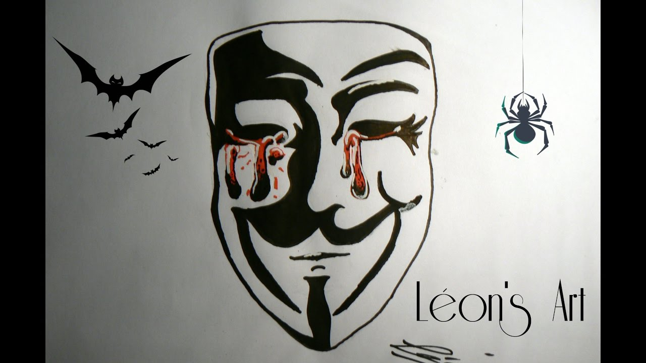Comment dessiner un masque anonymous fa con horreur - Dessin horreur ...