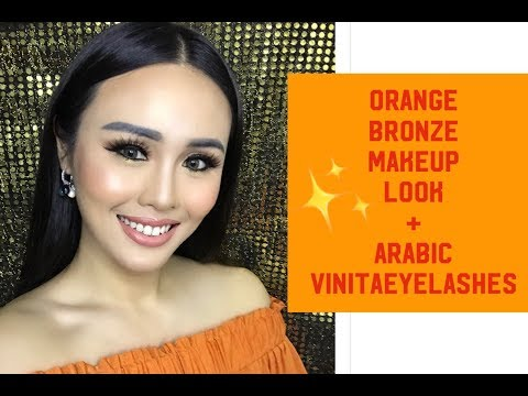 orange-bronze makeup look feat Vinitaeyelashes new collections!