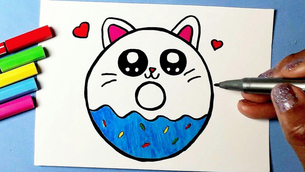 Download Como desenhar COOKIE CAT fofo KAWAII Donut ❤ Desenhos Kawaii | Desenhos para Desenhar