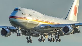 BOEING 747 LANDING - AF1 of JAPAN arriving at Amsterdam Schiphol (4K)