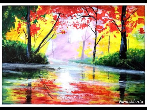Acrylic landscape painting lesson for beginners || Beautiful nature painting by Sahil Artist