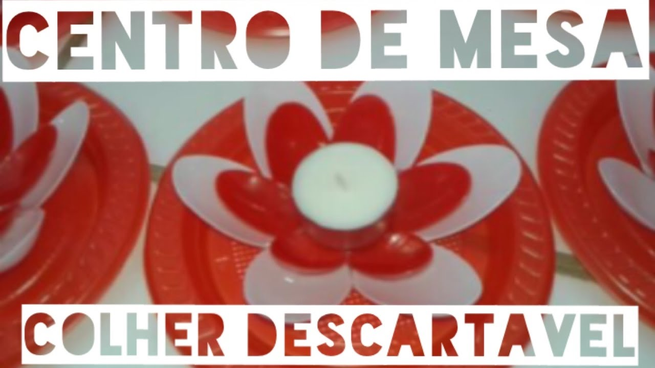 Diy Centro de mesa de colher descartável Decoraç u00e3o Vermelho e Branco Chá de Cozinha YouTube -> Decoração De Cha De Panela Vermelho E Branco Simples