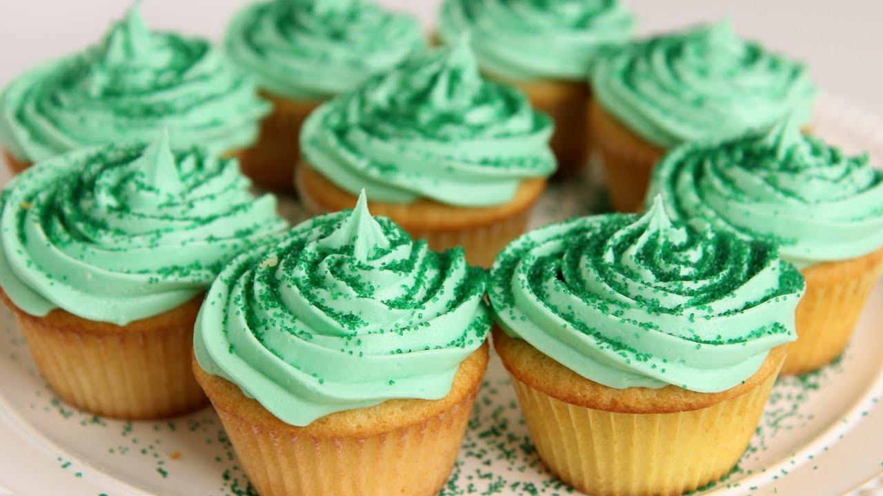 shamrock milkshake cupcake recipe - laura vitale - laura in the