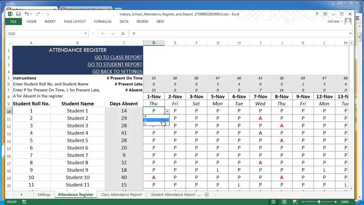 School Attendance Register and Report Excel Template v13