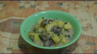 Домашние видео рецепты - картошка с грибами в мультиварке