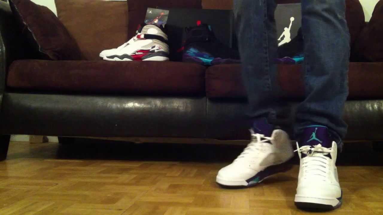 Grape 5's on feet, Air Jordan 5 Retro - YouTubeJordan Grape 5 Black On Feet