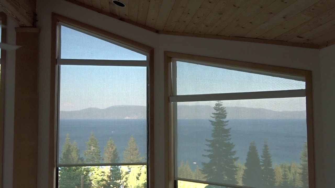 Angle top windows with motorized roller screen shades in for Motorized blinds not working
