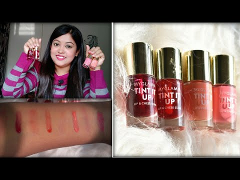 MYGLAMM TINT IT UP LIP AND CHEEK STAIN REVIEW AND SWATCHES| MYGLAMM LIP TINT REVIEW| ALL SHADES
