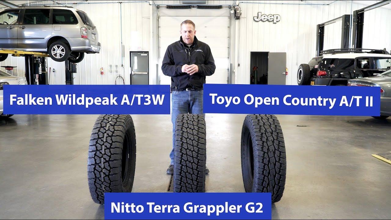 At Tire Comparison Nitto Terra Grappler G2 Vs Toyo Open Country Atii Vs Falken Wildpeak At3w Youtube
