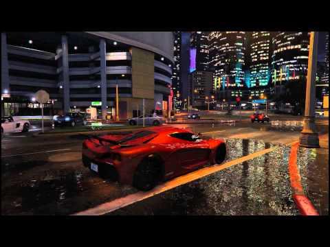 GTA V 4K Reflections at Night in Rain