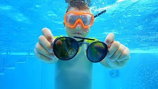 Diving down for Sunglasses to Help Mom | Swimming Underwater in Pool
