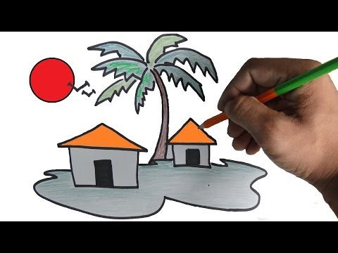 how to draw a scenery for children step by step - Simple Nature Drawing For Kids
