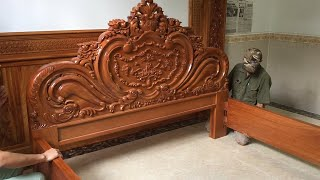 How to Build A Giant Size Bed With Rare & Monolithic Hardwood || Extremely Wonderful Carved Wood Art