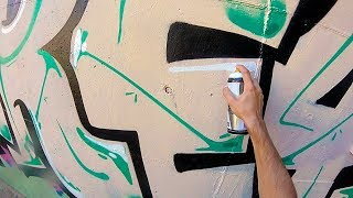 Graffiti - Rake43 - Green and Pink Pieces