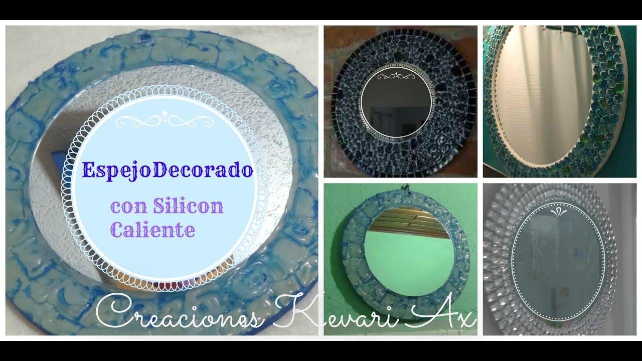 Espejo decorado con silicon caliente diy hot glue - Espejos para manualidades ...