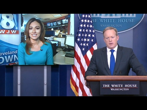 Sean Spicer Takes FIRST EVER Skype Questions At White House Daily Briefing